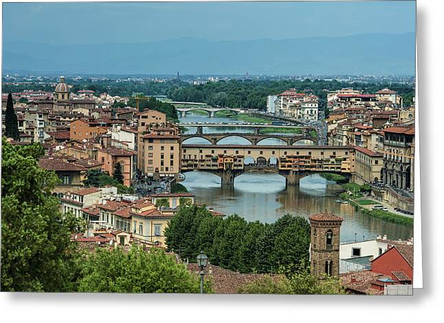 Over View Of Florence, Italy With Many Greeting Card by Sheila Haddad