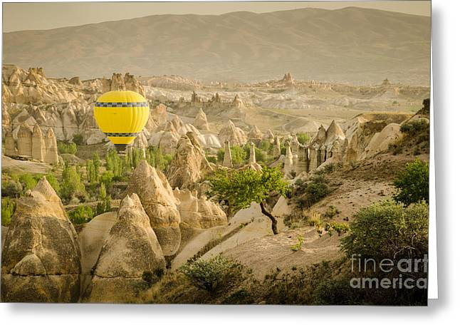 Balloon Over White Valley - Cappadocia Turkey Greeting Card by OUAP Photography
