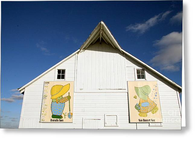 Overall Sam And Sunbonnet Sue Barn Quilts Greeting Card by Amelia Painter