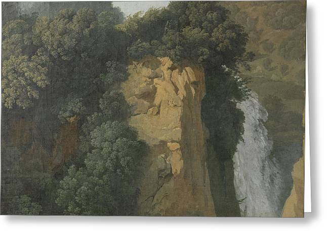 Overgrown Cliffs With A Waterfall In Italy Greeting Card