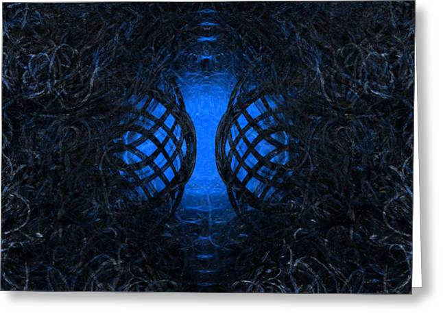 Overgrown Entry - Blue Greeting Card