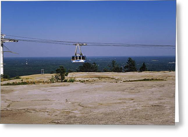 Overhead Cable Car On A Mountain, Stone Greeting Card