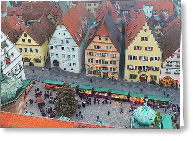 Overhead View Of The Christmas Market Greeting Card