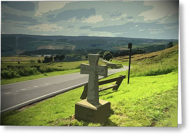 Overlooking High Bradfield From Kirk, A Steady Stream Greeting Card