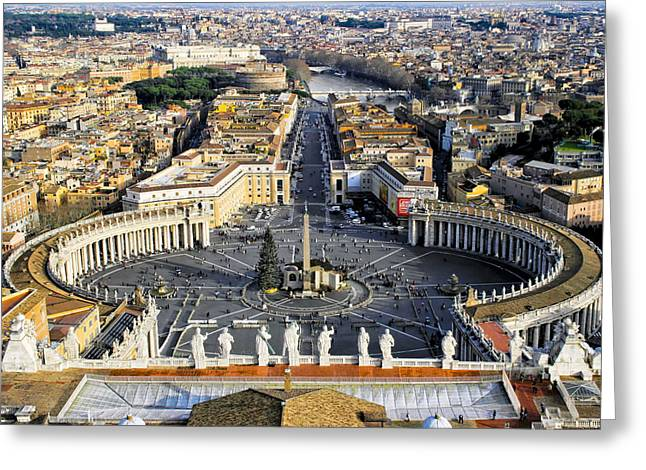 Overlooking St Peter's Square In The Vatican Greeting Card by Mark E Tisdale
