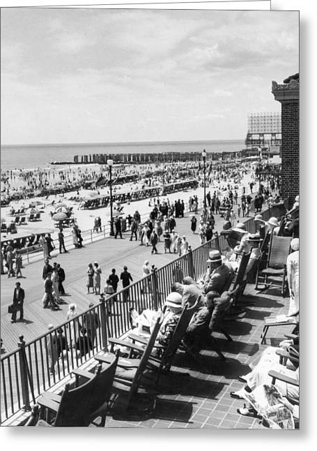 Overlooking The Boardwalk Greeting Card by Underwood Archives