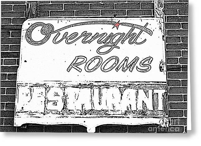 Overnight Rooms Sign Greeting Card by Nina Silver