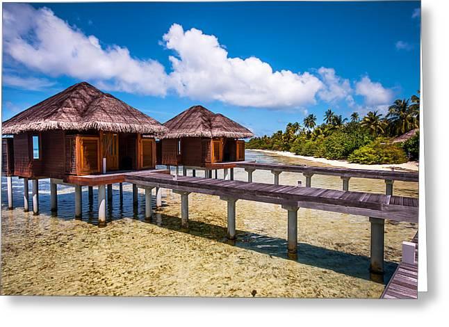 Overwater Spa Villas. Maldives Greeting Card by Jenny Rainbow