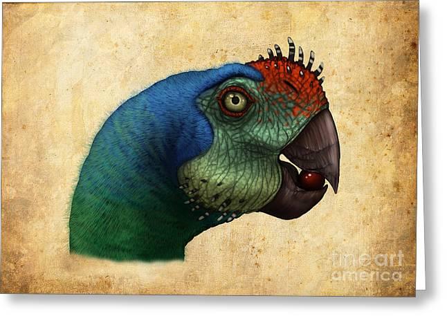 Oviraptor Head Detail Greeting Card by Alvaro Rozalen