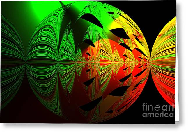 Art. Unigue Design.  Abstract Green Red And Black Greeting Card
