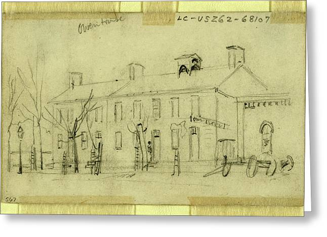 Owen House, 1860-1865, Drawing On Cream Paper Pencil Greeting Card