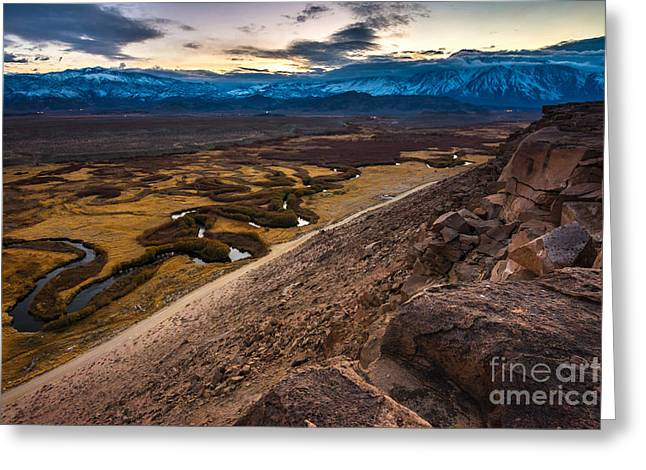 Owens River Floodplain At Sunset - Bishop - California Greeting Card