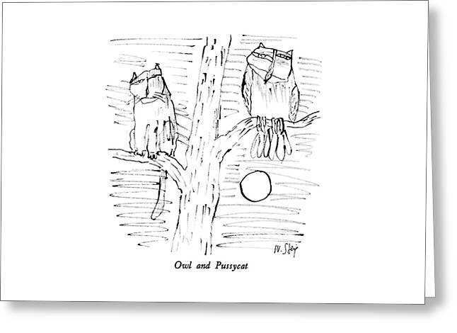 Owl And Pussycat Greeting Card
