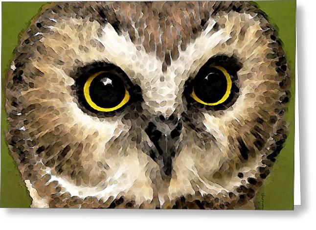 Owl Art - Night Vision Greeting Card