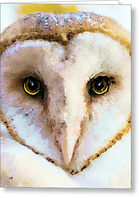 Owl Art - Soft Love Greeting Card by Sharon Cummings