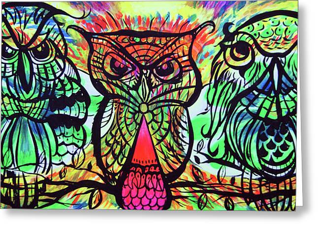 Owl B Watching Greeting Card by Lorinda Fore and Tony Lima
