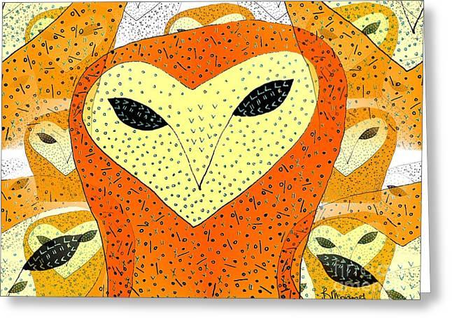 owl Greeting Card by Barbara Moignard