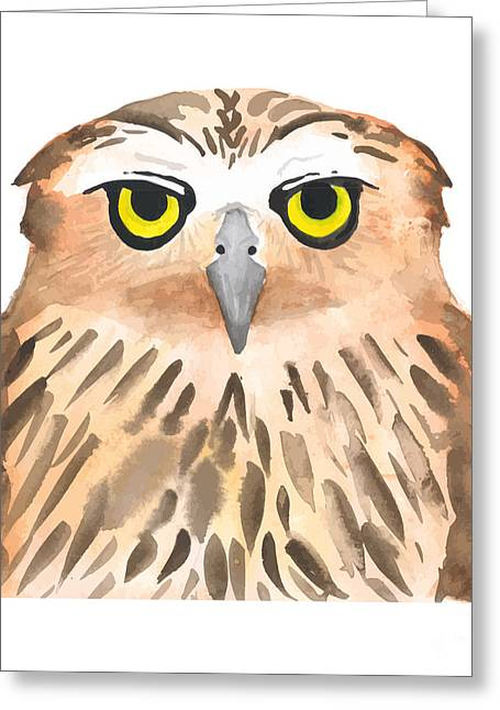 Owl Bird. Watercolor, Vector Greeting Card