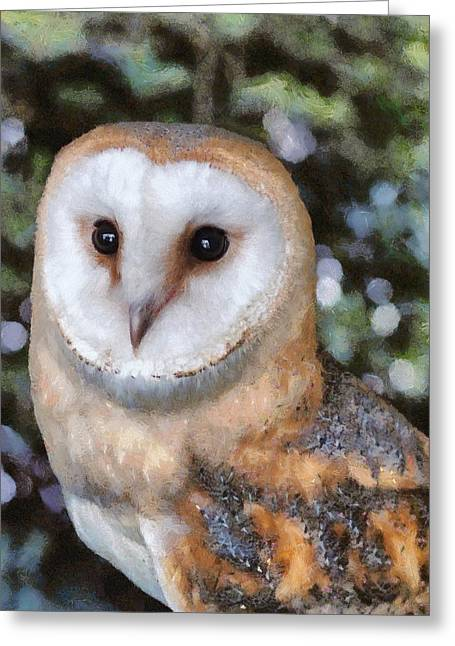 Greeting Card featuring the digital art Owl - Bright Eyes 2 by Paul Gulliver