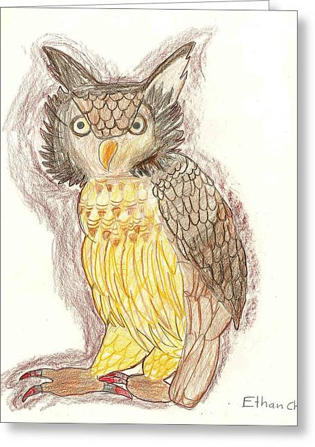 Greeting Card featuring the drawing Wise Owl by Ethan Chaupiz