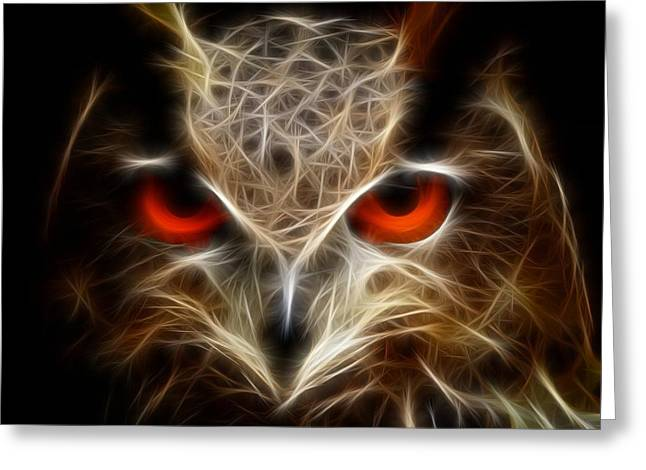 Owl - Fractal Artwork Greeting Card