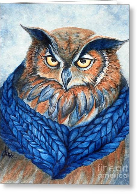 Owl In A Cowl Greeting Card by Janine Riley
