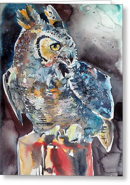 Owl At Night Greeting Card by Kovacs Anna Brigitta