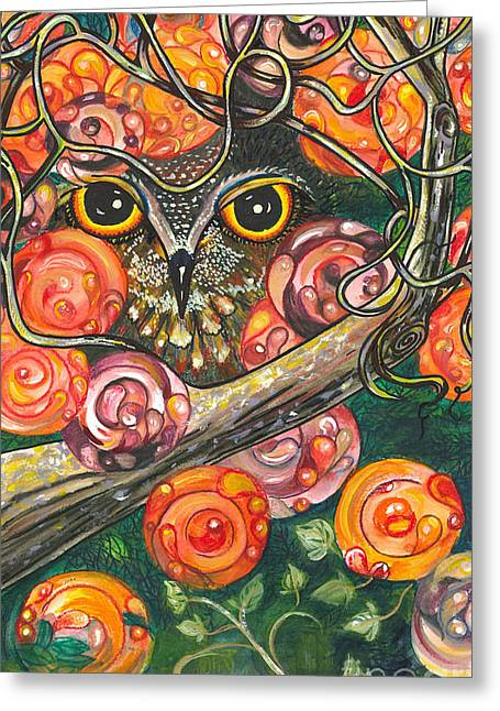 Owl In Orange Blossoms Greeting Card by M E Wood