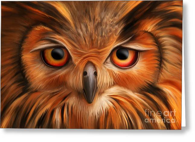 Owl Greeting Card by Ivan  Pawluk