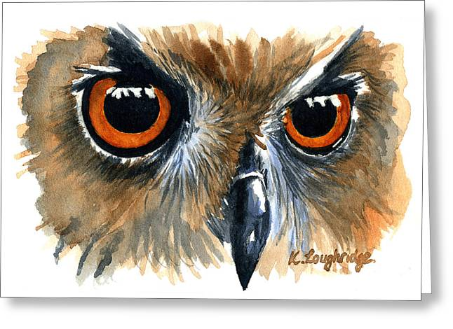Owl Greeting Card by Karen  Loughridge KLArt