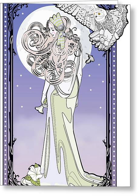 Owl Maiden Greeting Card by Penny Collins