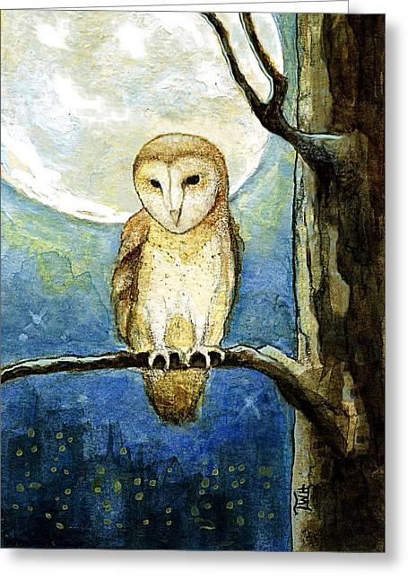 Greeting Card featuring the painting Owl Moon by Terry Webb Harshman