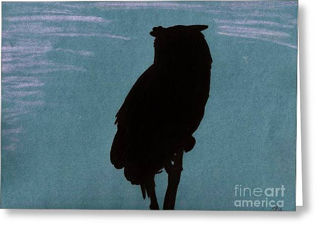 Greeting Card featuring the drawing Owl Silhouette by D Hackett