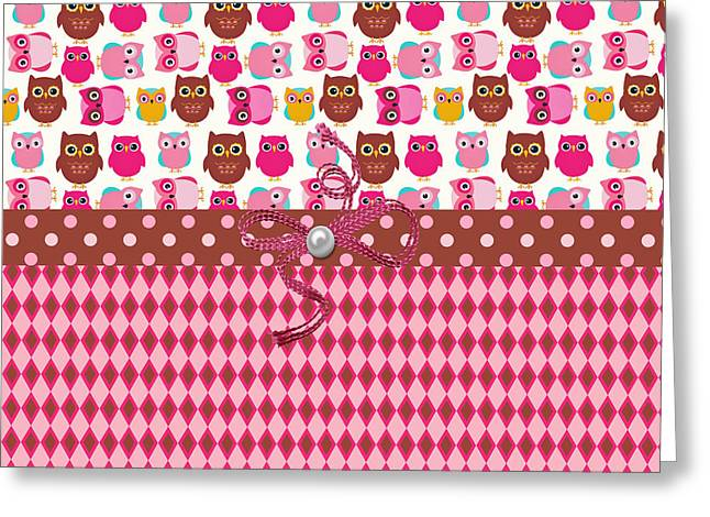 Owl Surprises Greeting Card by Debra  Miller