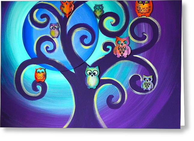 Greeting Card featuring the mixed media Owl Sweet Family by Agata Lindquist