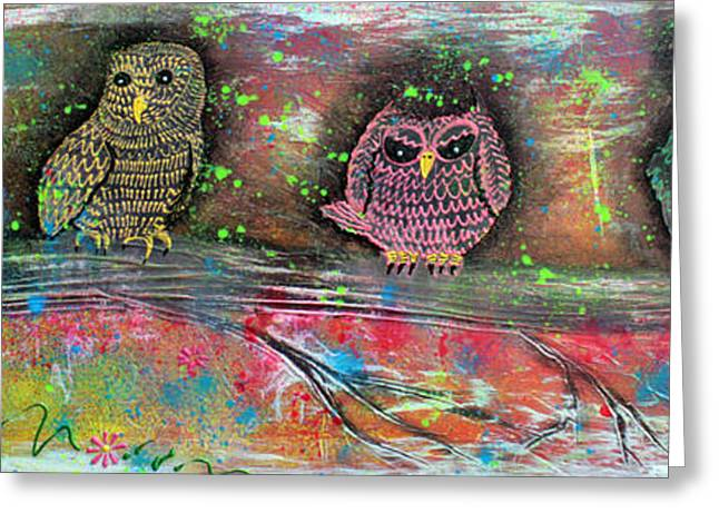 Owl Totem Greeting Card by Laura Barbosa