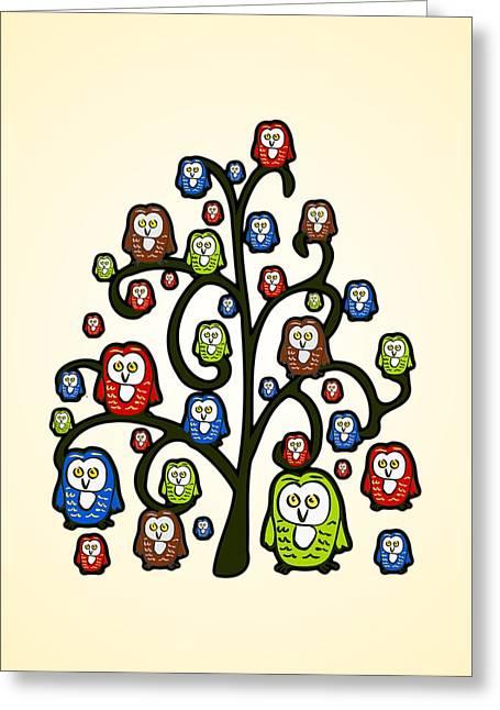 Owl Tree Greeting Card by Anastasiya Malakhova