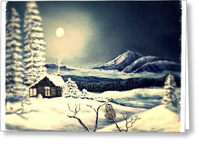 Owl Watch On A Cold Winter's Night Greeting Card by Kimberlee Baxter