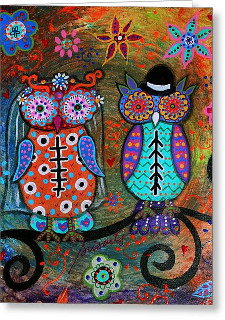 Owl Wedding Dia De Los Muertos Greeting Card