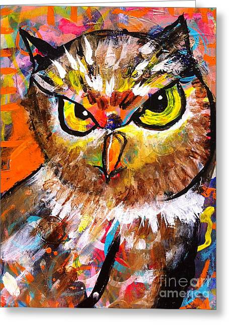 Owl With An Attitude Greeting Card by Kim Heil