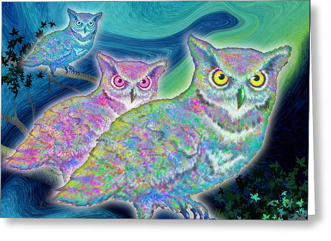 Greeting Card featuring the painting Owls At Midnight  Square by Teresa Ascone
