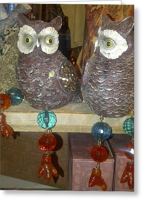 Owls Greeting Card by Barbara Yodice