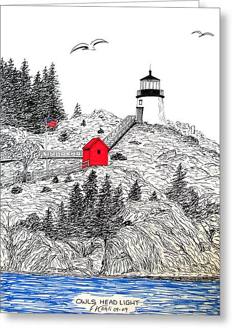 Owls Head Lighthouse Dwg Greeting Card by Frederic Kohli
