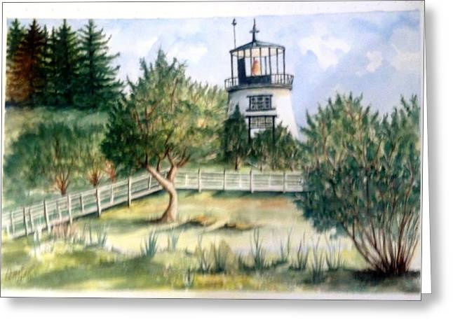 Owls Head Maine Lighthouse Greeting Card by Richard Benson