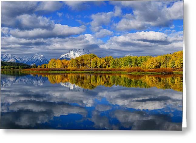 Oxbow Bend Peak Autumn Panorama Greeting Card