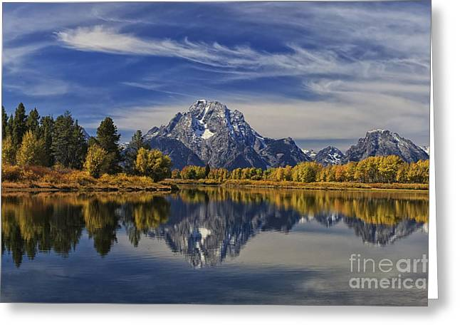 Oxbow Reflections Greeting Card by Mark Kiver