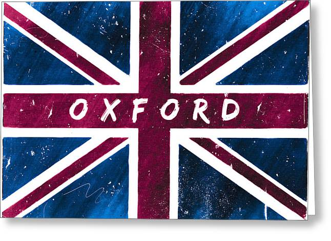 Oxford Distressed Union Jack Flag Greeting Card by Mark E Tisdale