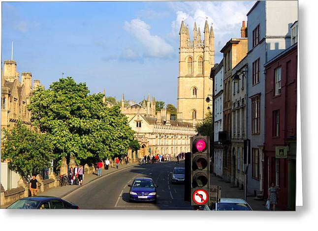 Oxford England With Magdalen College Greeting Card