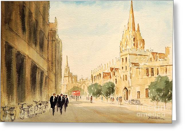 Greeting Card featuring the painting Oxford High Street by Bill Holkham