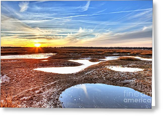 Oyster Beds At Sunset Greeting Card